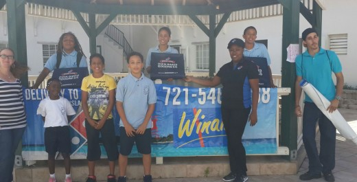Domino's and Winair treat Saba school children to free pizza.
