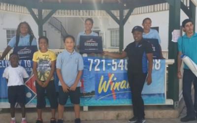 Domino's and Winair treat Saba school children to free pizza.
